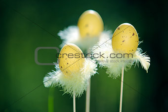 Three Easter eggs on a fresh green background