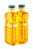 Two plastic bottles of sunflower oil
