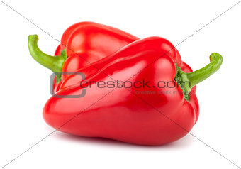 Pair of ripe red sweet peppers