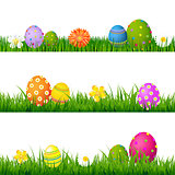 Big Green Grass Set With Flowers And Easter Eggs