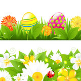 Set Of Borders With Grass And Color Eggs