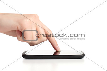Woman hand touching a mobile phone screen with forefinger
