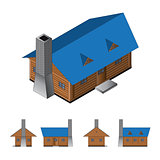 Isometric log cabin