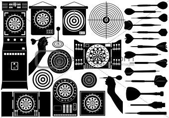 Set of different dartboards