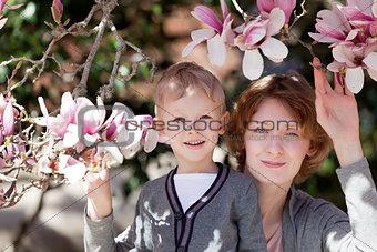 family at spring