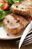beef steak grilled with fresh salad garnish