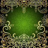 Green-gold vintage floral frame