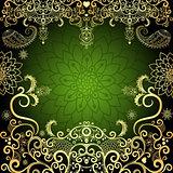 Green-gold vintage floral frame