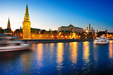 View of the Moscow Kremlin and Moscow river at night.
