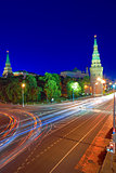 Moscow Kremlin and Kremlin Embankment at night.
