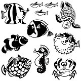 set with sea fishes black white