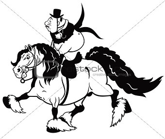 cartoon senior rider black white