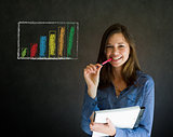 Confident business woman or teacher with notepad and pen against a blackboard with graph chart