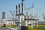 part of high-voltage substation with switches and connectors