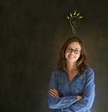 Bright idea lightbulb thinking business woman