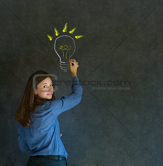 Bright idea lightbulb thinking business woman