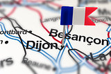 pin with flag of France in Dijon