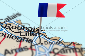 pin with flag of France in Lille