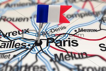 pin with flag of France in Paris