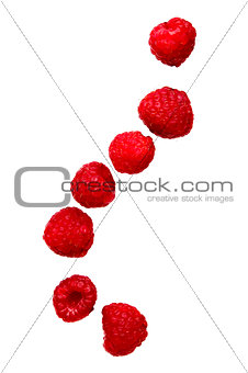 Raspberries falling isolated on a white background