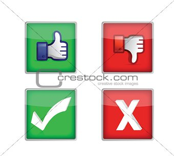 Set of voting web buttons