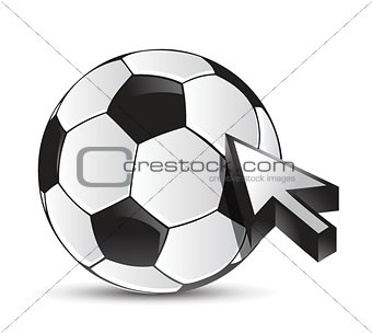 soccer ball with cursor arrow - sport shopping
