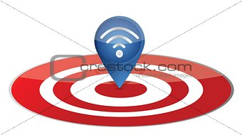 Wireless pointer on target board illustration