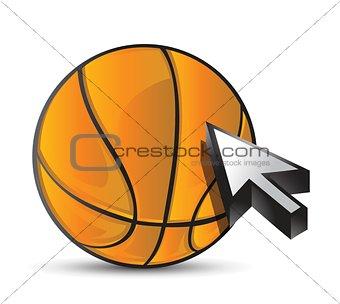 Basketball ball with cursor arrow - sport shopping
