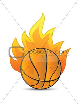 Basketball Ball in fire