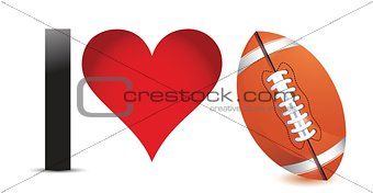 I love Football, Heart with Football Ball