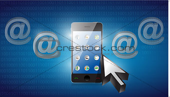 smartphone selected on a blue binary background