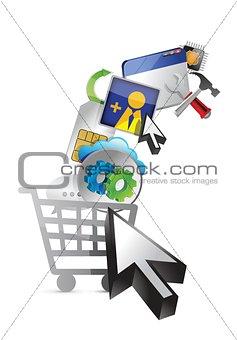 shopping cart. abstract media concept