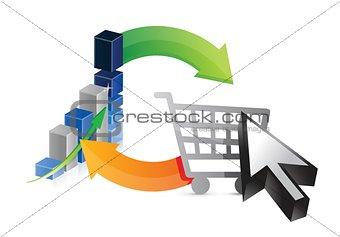 business graph shopping profits illustration