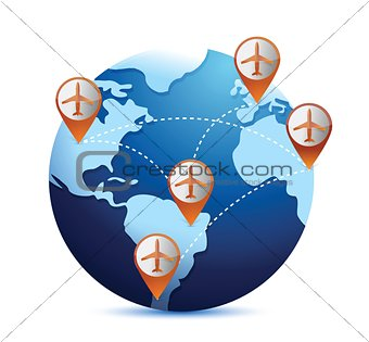 globe with airplanes and destinations