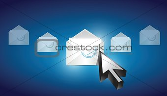 email envelope correspondence selected on a blue