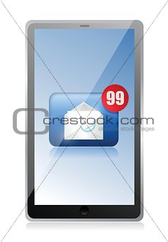 a computer tablet receiving a lot of spam