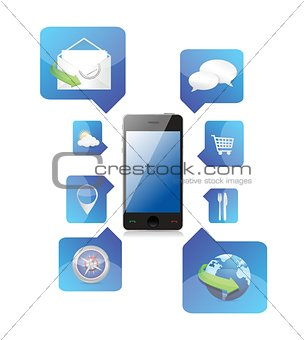 Smartphone application icons illustration
