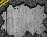 Hole in asphalt road background
