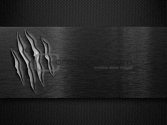 black damaged metal plate over grid