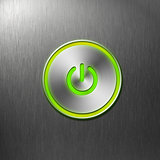 green power button on front panel of computer