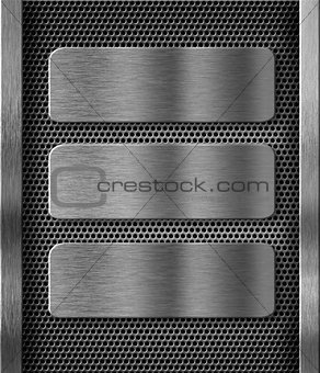 three metal plates over grid background