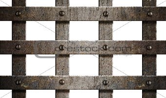 ancient rusty metal bars isolated on white