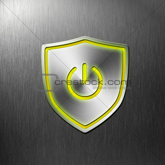 power shield button on aluminum background