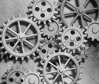 clockwork gears metal background