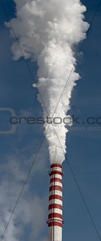 Smoking gas power plant stacks