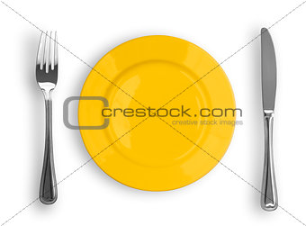 Knife, yellow plate and fork isolated