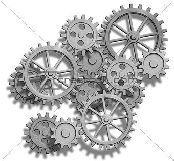 abstract clockwork gears isolated on white
