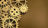 golden clockwork gears background