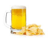 Beer mug and pile of potato chips