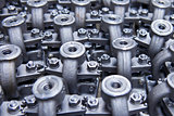 Industrial background from part of assembled valves